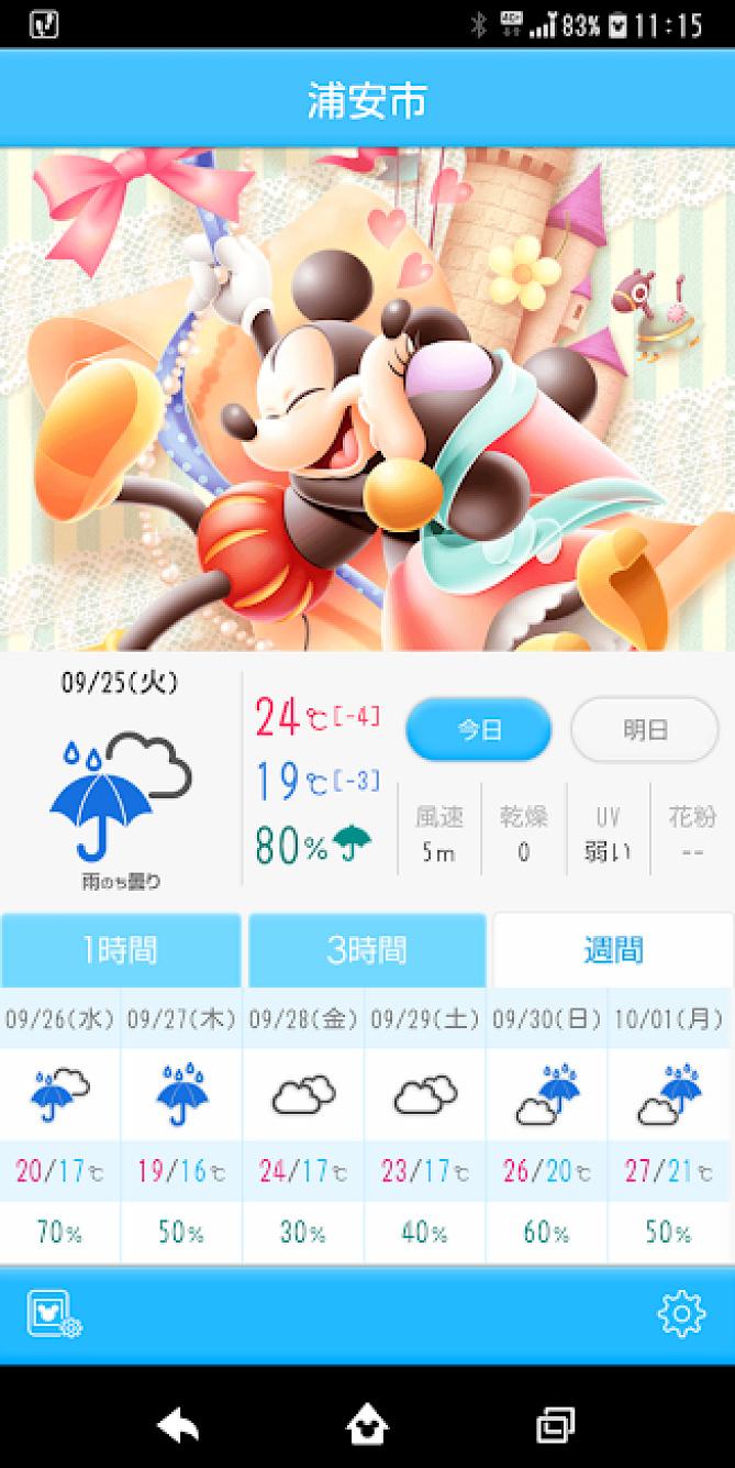 天気 予報 ディズニー