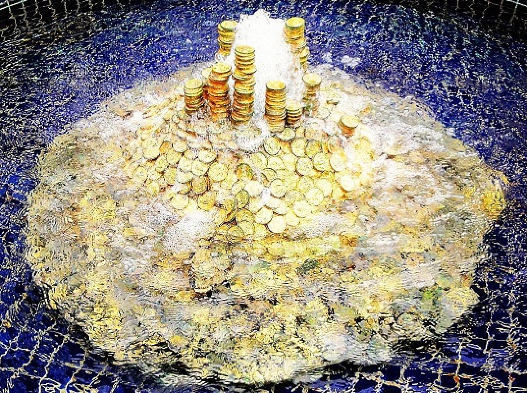 金貨の噴水が目印