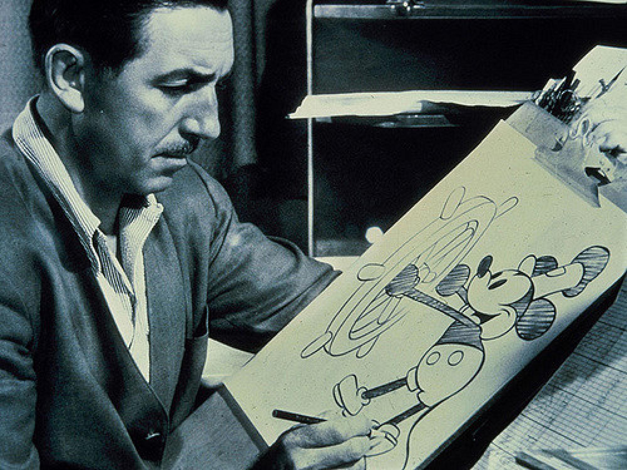 全世界で大人気となったミッキー・マウスを描くウォルト・ディズニー