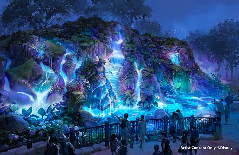 ファンタジースプリングス内の泉(夜)